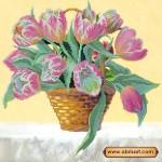 Схема для вышивки бисером «Корзина тюльпанов»
