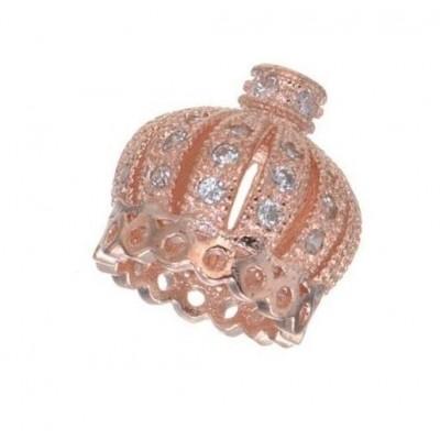 Коннектор, Корона инкрустированная  фианитами, 13*13 мм,  розовое золото