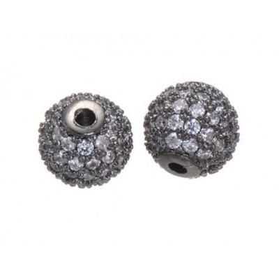 Бусина металлическая с фианитами, 6 мм, черный металл
