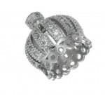 Коннектор, Корона инкрустированная  фианитами, 13*13 мм,  платина