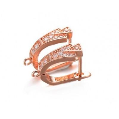 Швензы инкрустированные фианитами,, 14,5 мм, розовое золото