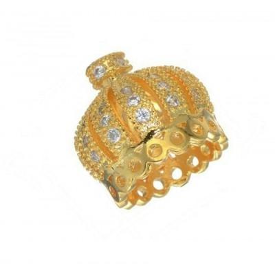 Коннектор, Корона инкрустированная  фианитами, 13*13 мм, золото