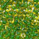 Бисер 81014 (двухцветный, янтарное стекло с зеленой внутренней окраской)