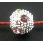 Филигрань шары, посеребренный фианит, разноцветный, 8mm