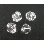 Бусина-биконус, Белый,  4mm