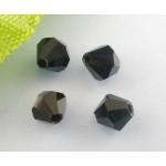 Бусина-биконус, Черный,  4mm