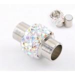 Магнитный концевик - колпачок  со стразами, 17x12mm, серебристый, шт