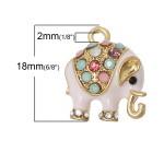 """Подвеска """"Розовый слон"""" со стразами, 18x15mm, металлические, эмаль, шт"""